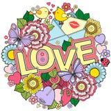σας αγαπώ Στρογγυλό αφηρημένο υπόβαθρο φιαγμένο από λουλούδια, φλυτζάνια, πεταλούδες, και πουλιά Στοκ Φωτογραφία
