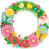 σας αγαπώ Στρογγυλό σύντομο χρονογράφημα Αφηρημένο υπόβαθρο φιαγμένο από λουλούδια, φλυτζάνια, πεταλούδες, και πουλιά Στοκ φωτογραφίες με δικαίωμα ελεύθερης χρήσης