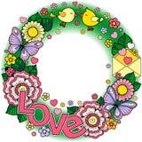 σας αγαπώ Στρογγυλό σύντομο χρονογράφημα Αφηρημένο υπόβαθρο φιαγμένο από λουλούδια, φλυτζάνια, πεταλούδες, και πουλιά Στοκ Εικόνα