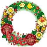 σας αγαπώ Στρογγυλό σύντομο χρονογράφημα Αφηρημένο υπόβαθρο φιαγμένο από λουλούδια, φλυτζάνια, πεταλούδες, και πουλιά Στοκ Φωτογραφίες