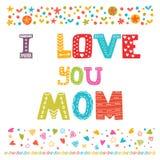 σας αγαπώ mom χαριτωμένος χαιρετισμός &kap Έννοια ημέρας της ευτυχούς μητέρας Στοκ Φωτογραφία