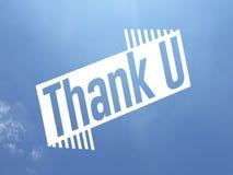 Σας ευχαριστήστε μήνυμα στο άσπρο χρώμα πέρα από ένα υπόβαθρο μπλε ουρανού απεικόνιση αποθεμάτων