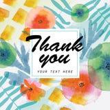 Σας ευχαριστούμε λαναρίζει διακοσμημένος με τα floral στοιχεία watercolor διανυσματική απεικόνιση
