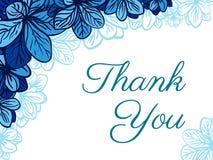 Σας ευχαριστούμε λαναρίζει με τα μπλε λουλούδια ανασκόπησης κομψότητας καρδιών θερμός γάμος συμβόλων πρόσκλησης ρομαντικός ελεύθερη απεικόνιση δικαιώματος