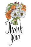 Σας ευχαριστούμε λαναρίζει με την ανθοδέσμη. Καλλιγραφία και χέρι  Στοκ φωτογραφία με δικαίωμα ελεύθερης χρήσης