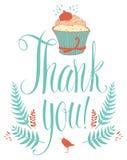 Σας ευχαριστούμε λαναρίζει με το cupcake. Καλλιγραφία και χέρι  Στοκ Εικόνες