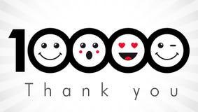 Σας ευχαριστούμε 10000 αριθμοί οπαδών απεικόνιση αποθεμάτων
