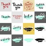 Σας ευχαριστούμε, γειά σου, θλιβερός, ευπρόσδεκτος στη βούρτσα καλλιγραφίας απεικόνιση αποθεμάτων
