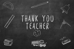 Σας ευχαριστούμε δάσκαλος χειρόγραφος σε έναν πίνακα κιμωλίας Στοκ φωτογραφία με δικαίωμα ελεύθερης χρήσης