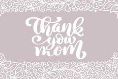 Σας ευχαριστούμε διανυσματική καλλιγραφική φράση επιγραφής ευχετήριων καρτών Mom Ευτυχές μητέρων ` s απόσπασμα εγγραφής χεριών ημ Στοκ εικόνα με δικαίωμα ελεύθερης χρήσης
