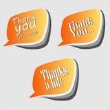 Σας ευχαριστούμε ευγνώμονες λεκτικές φυσαλίδες Στοκ εικόνες με δικαίωμα ελεύθερης χρήσης