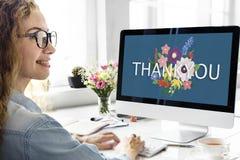 Σας ευχαριστούμε ευγνώμων ευτυχής εκτίμησης στοκ εικόνες