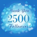Σας ευχαριστούμε κάρτα ή έμβλημα 2500 οπαδών ελεύθερη απεικόνιση δικαιώματος