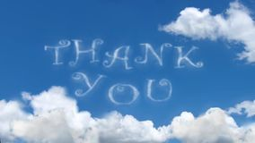 Σας ευχαριστούμε - καλύψτε τις λέξεις στο μπλε ουρανό ελεύθερη απεικόνιση δικαιώματος