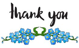 Σας ευχαριστούμε λαναρίζει με με ξεχνά όχι λουλούδια απεικόνιση αποθεμάτων