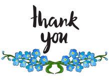Σας ευχαριστούμε λαναρίζει με με ξεχνά όχι λουλούδια ελεύθερη απεικόνιση δικαιώματος
