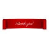Σας ευχαριστούμε μήνυμα στην κόκκινη κορδέλλα στο λευκό Στοκ εικόνες με δικαίωμα ελεύθερης χρήσης