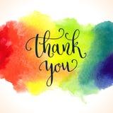 Σας ευχαριστούμε πρότυπο καρτών watercolor Φωτεινό χέρι Στοκ φωτογραφία με δικαίωμα ελεύθερης χρήσης