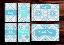 Σας ευχαριστούμε, σας χάστε, θλιβερές κάρτες καθορισμένες στον ξύλινο backg Στοκ Φωτογραφία