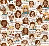 Σας ευχαριστούμε στις διαφορετικές γλώσσες (άνευ ραφής σχέδιο) Στοκ Εικόνα