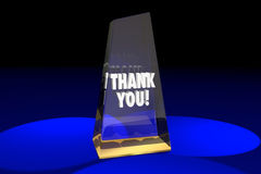Σας ευχαριστούμε τρισδιάστατη απεικόνιση λέξεων βραβείων αναγνώρισης εκτίμησης Στοκ εικόνα με δικαίωμα ελεύθερης χρήσης