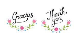 Σας ευχαριστούμε floral έμβλημα Στοκ Εικόνες