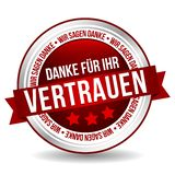 Σας ευχαριστώ για το διακριτικό εμπιστοσύνης σας - γερμανικός-μετάφραση: Ihr Vertrauen Danke fà ¼ ρ Στοκ φωτογραφίες με δικαίωμα ελεύθερης χρήσης