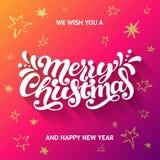 Σας ευχόμαστε τη Χαρούμενα Χριστούγεννα και τη ευχετήρια κάρτα καλής χρονιάς Στοκ Φωτογραφία