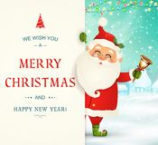 Σας ευχόμαστε τη Χαρούμενα Χριστούγεννα καλή χρονιά Χαρακτήρας Άγιου Βασίλη με τη μεγάλη πινακίδα Εύθυμος Άγιος Βασίλης με τα κάλ απεικόνιση αποθεμάτων
