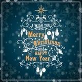 Σας εύχομαι τη Χαρούμενα Χριστούγεννα και καλή χρονιά διανυσματική απεικόνιση