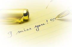Σας χάνω μήνυμα που γράφεται με το χέρι με την αγάπη Στοκ Εικόνες