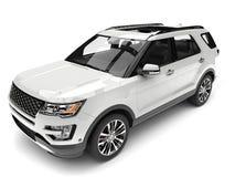 Σαφές άσπρο σύγχρονο SUV - κορυφή κάτω από τον πυροβολισμό κινηματογραφήσεων σε πρώτο πλάνο απεικόνιση αποθεμάτων