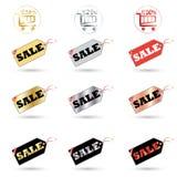 σαφές διάνυσμα ετικεττών πώλησης κορδελλών απεικόνισης κόκκινο διανυσματική απεικόνιση