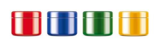 Σαφές πρότυπο βάζων για την καλλυντικό κρέμα ή το πήκτωμα Χρωματισμένος σχολιάστε το σύνολο διανυσματική απεικόνιση