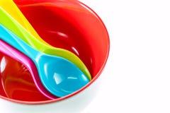 σαφές πλαστικό κουτάλι ανασκόπησης Στοκ Εικόνες