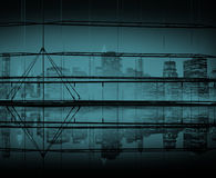 Σαφής έννοια δομών πόλεων οικοδόμησης ουρανού νυχτερινής εικονικής παράστασης πόλης Στοκ Εικόνα