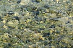Σαφής δείτε μέσω της σύστασης φωτογραφιών θαλάσσιου νερού στοκ φωτογραφία