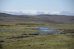 Σαφής πράσινος της Ισλανδίας όπου άνεμοι ένας μικρός ποταμός στοκ φωτογραφίες