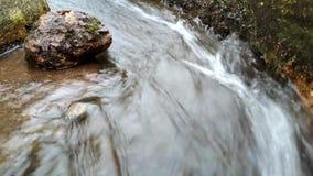 Σαφής ροή της ροής νερού και του βράχου ποταμών φιλμ μικρού μήκους