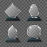 Σαφή πιστοποιητικά βραβείων γυαλιού, διάνυσμα αποθεμάτων τροπαίων κρυστάλλου ομάδων στόχων ελεύθερη απεικόνιση δικαιώματος