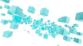 Σαφείς μπλε κύβοι σε Sapce Στοκ Εικόνες