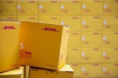 Σαφείς συσκευασίες DHL στοκ φωτογραφία με δικαίωμα ελεύθερης χρήσης