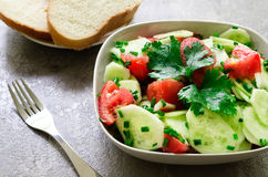 Σαλάτα από τα αγγούρια, την ντομάτα και τα πράσινα κρεμμύδια Στοκ Φωτογραφίες