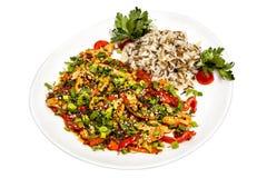 Σαλάτα από τα θαλασσινά με τα λαχανικά Στοκ Εικόνες