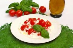 Σαλάτα από τις ντομάτες κερασιών και τυρί εξοχικών σπιτιών με το ελαιόλαδο βασιλικού και Στοκ εικόνες με δικαίωμα ελεύθερης χρήσης