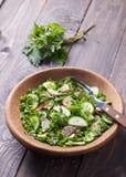 Σαλάτα βιταμινών των άγριων χορταριών με το αγγούρι, το ραδίκι και τα πράσινα κρεμμύδια Στοκ εικόνα με δικαίωμα ελεύθερης χρήσης
