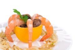 Σαλάτα γαρίδων με τα μανιτάρια Στοκ Εικόνες