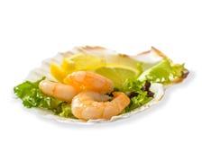 Σαλάτα γαρίδων με το λεμόνι Στοκ Εικόνες