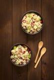 Σαλάτα κουσκούς με τα σταφύλια, τα καρύδια, το τυρί και το ρόδι Στοκ εικόνα με δικαίωμα ελεύθερης χρήσης