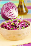 Σαλάτα κόκκινων λάχανων με τα πράσινα μπιζέλια και τα αγγούρια Στοκ φωτογραφία με δικαίωμα ελεύθερης χρήσης